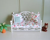 Dollhouse White Wire Loveseat Hand Finished