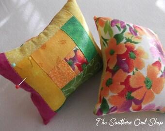 Yellow, green, pink and orange log cabin quilt block pin cushion
