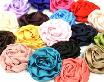 Satin Puff Flowers - set of 8 - you choose colors