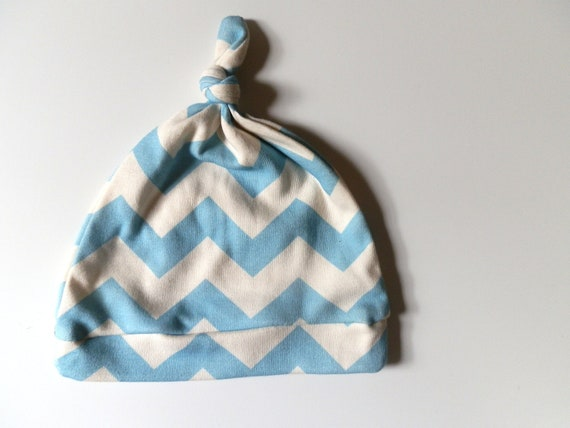 Chevron Toddler Hat, 12-18m Pond Blue Chevron, Organic Baby Gift by Little Hip Squeaks