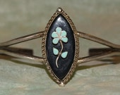 TRADITIONAL OLD ZUNI Sterling Turquoise Jet Cuff c1970