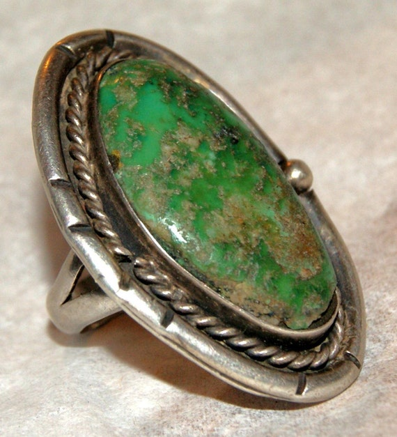 Big Old PAWN CARICO LAKE Turquoise Navajo Sterling Ring Size 6.5... c1950