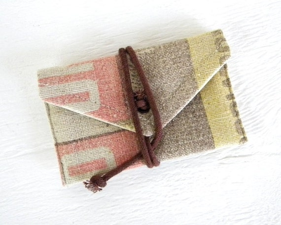 Recycled Grain Sack ID wrap wallet