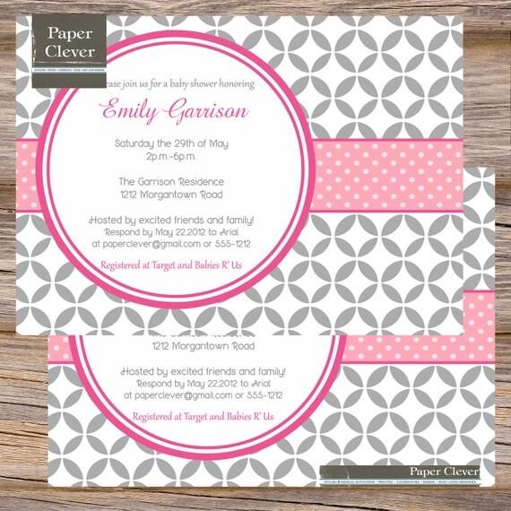 modern girls baby shower invitations pink gray digital file