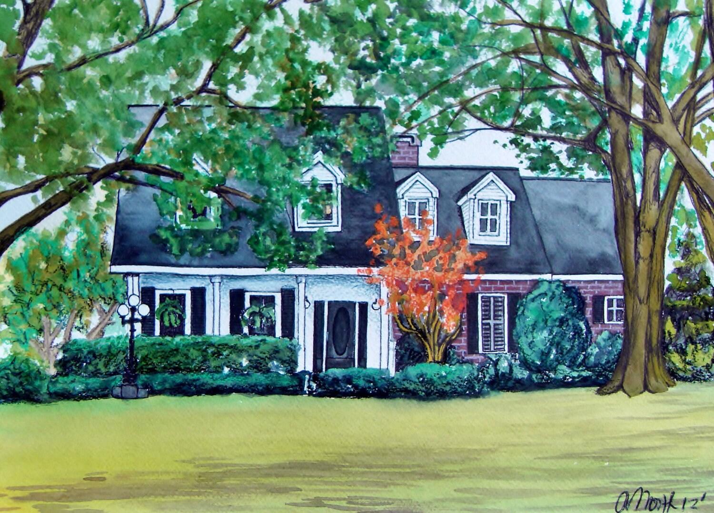 Watercolor House Portrait By Chromatic Ecstatic