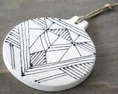 SALE - Hand-painted Ceramic Ornaments - Abstract Geometric and Modern Design - Christmas Decor - Gift