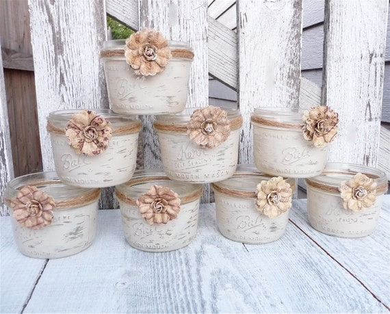 Shabby Chic Country Upcycled Candle Votive Holders, Centerpieces, Decor