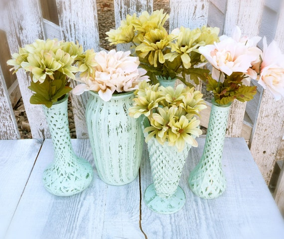 Shabby Chic Mint Teal Vintage Painted Vases, Set of 5 LARGE
