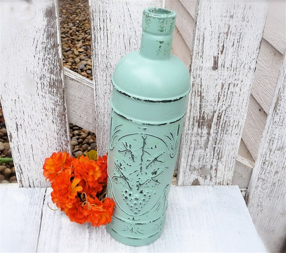 Shabby Chic Turquoise Painted Ornate Glass Bottle