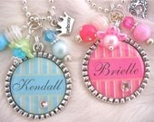 PERSONALIZED NAME Princess Crown Pink Blue Bottle Cap Pendant Necklace, Flower Girl Jewelry Children, Bridesmaid Gift