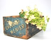 Antique Crate French Chocolat Menier Blue Rustic Wood Box