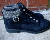 Vintage Black Suede Sweater Top Ankle Boots 6