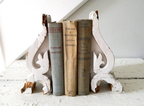 Hold for SM- Vintage Book Ends Salvage Architectural Wood White Shabby Chic