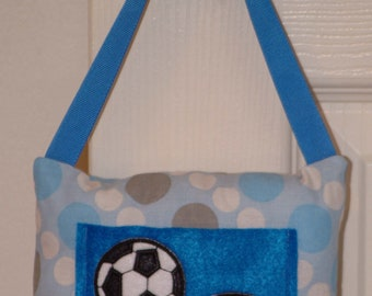 SALE Blue Soccer Toothfairy Pillow