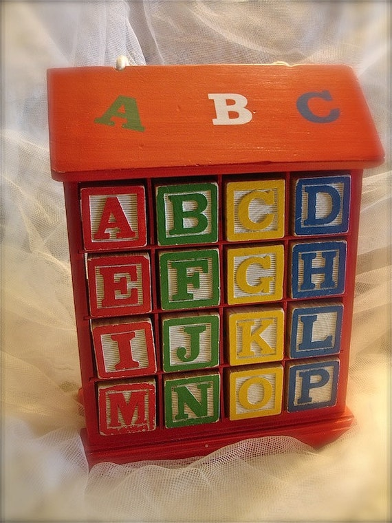 Vintage Alphabet blocks with case, preschool alphabet blocks, baby gift, back to school (additional 10 percent off  at checkout)