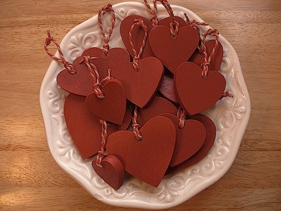 Wooden red heart ornaments rustic wedding
