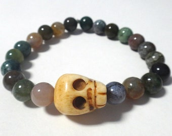 Fancy Jasper Beaded Bracelet with Bone Skull