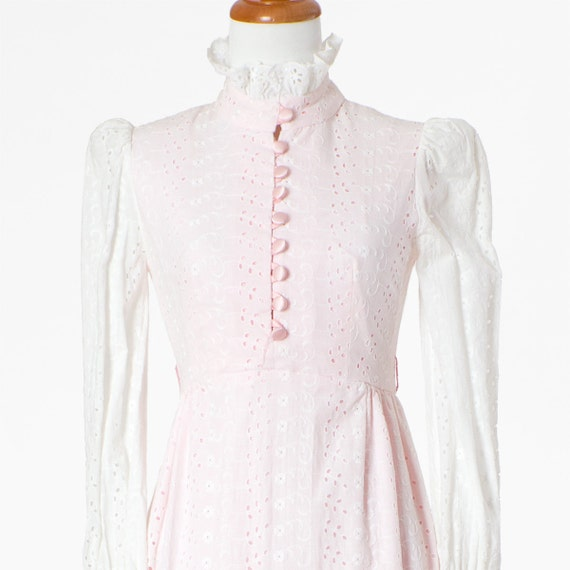 70s Vintage Maxi Dress Pink White Pastel Eyelet Lace Small
