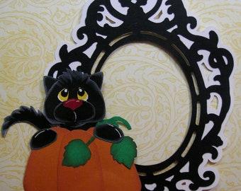 Black Cat & Pumpkin Halloween Frame, Hand cut Paperpiecing, Embellishment, Scrapbook, Cards