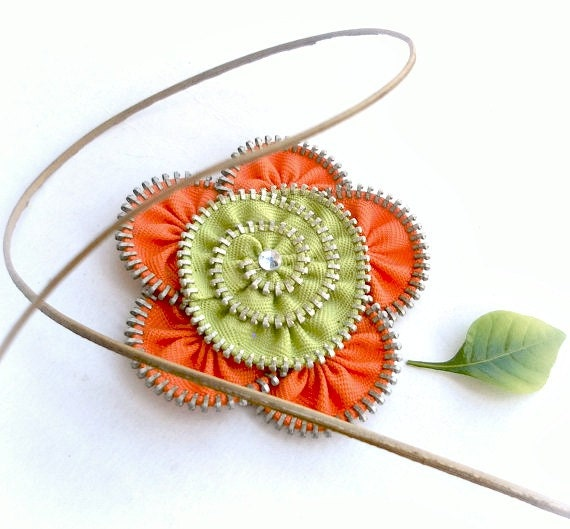 Flower Brooch Zipper Pin orange and green , combination color..size 2.8 in/ 7 cm - eco friendly,recycled jewelry