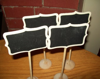 Mini Chalkboard Stands Table Numbers, Wedding , Buffet, Food Set of 4 (Chalk Included)