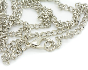 2 Pcs - 80cm Necklace Chain with lobster claw and O-ring Silver Chain Vintage Style Chain Jewelry Supplies A097