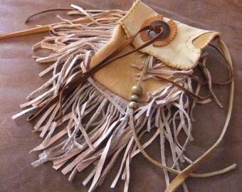 Fringed Elk and Deerskin Shoulder Bag