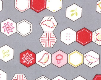 Sew Stitchy Collection - Novelty Hexagons - Grey by Aneela Hoey -  Moda