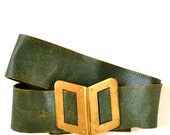 RESERVED-  Vintage 30s Emerald Green Leather Gold Buckle Belt XS S