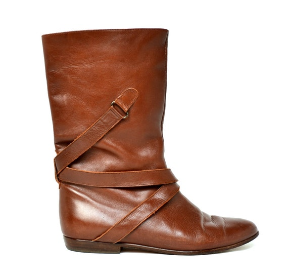 Vintage VAN ELI Strappy Brown Leather Mid Calf Boots 7
