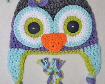 Crochet owl hat, owl hat, crochet baby to teen owl hat, custom colors