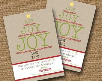 "Christmas Card DIY PRINTABLE ""Joy Joy Joy"" Christian Scripture Christmas Bible Verse Typography Christmas Card"