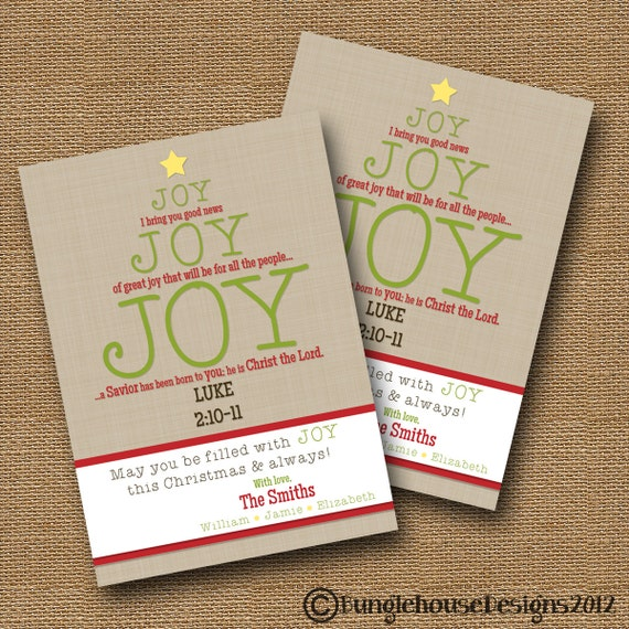 Christmas Tree In The Bible Scripture: Christmas Card Joy Joy Joy Christian Christmas Card