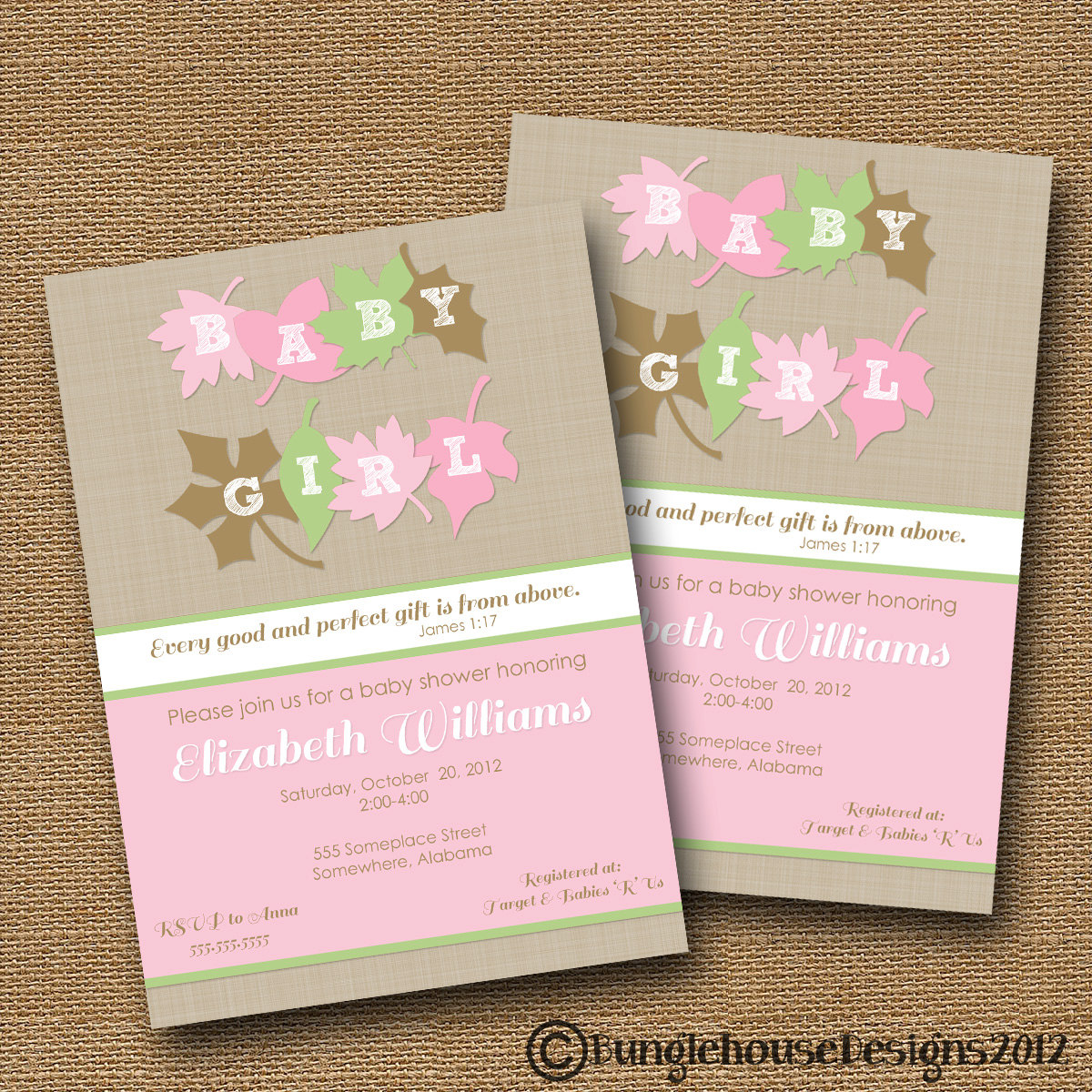 Fall Baby Shower Invitation DIY PRINTABLE Baby Girl Invite – Fall or Winter Theme Invitation Cards