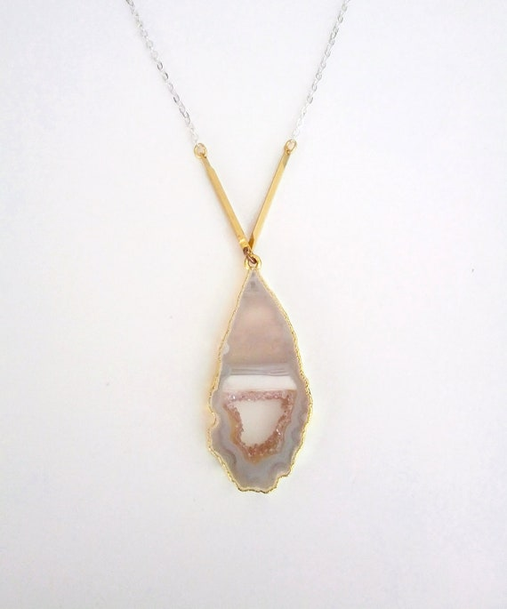 Diamante Drusy Geode Necklace in Gold and Sterling Silver OOAK
