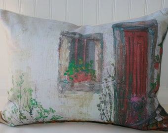 Artistic Scene Pillow Cover 14 X 18 white, grey, red, gold, green with canvas back