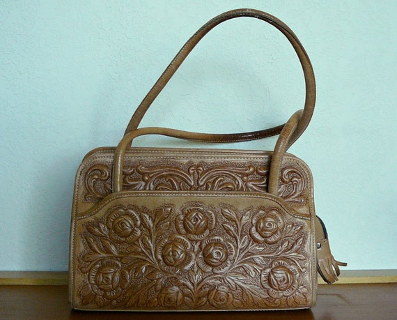 Beautiful Tooled Brown Leather Mont-Abur Purse Made in Mexico Aztec Mayan Calendar Roses