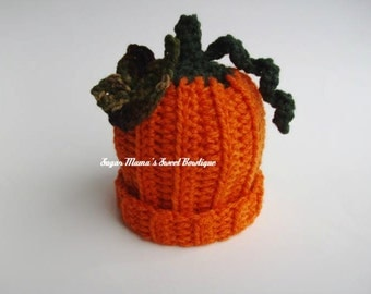 Crochet Pumpkin Hat READY TO SHIP Custom Fall Orange Hat with Leaf and Stem. Handmade. 7 Sizes: Baby to Adult