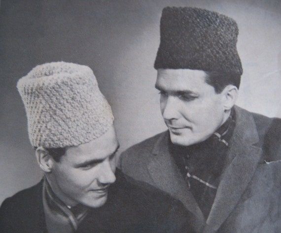 Knitting Pattern Russian Hat : Items similar to PDF Knitting Pattern Vintage Mens or Youth Hat Simulated Per...