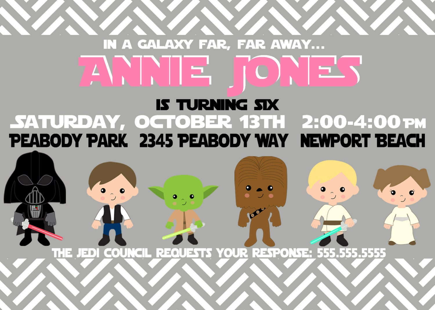 Star Wars Custom Birthday Party Pack for Girls - Star Wars Party Invitation - Party Supplies