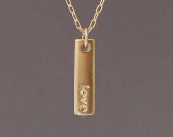 Gold 'Love' Vertical Bar Necklace