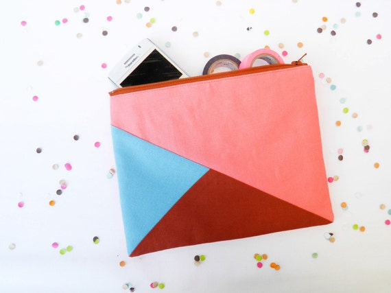 "Large zipper pouch 6""X8""  geometry color block in coral turquoise and caramel"