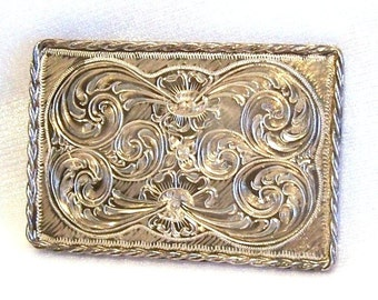 Vintage Sterling Silver Belt Buckle: Hand Engraved Flowers and Swirls, High Patina  - P0008