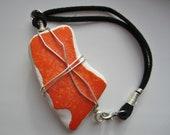 Orange Crush ceramic sea pottery wire wrapped bracelet