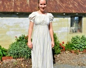 Modest Regency Empire White Print  Dress Size 8 blue and green flowers Ball Gown Jane Austen Emma  English Country Dance Costume Formal