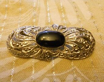 Vintage Brooch Art Deco Lapel Pin Silver Brooch with Black Stone