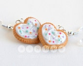 Frosted Heart Cookie with Sprinkles Polymer Clay Earrings