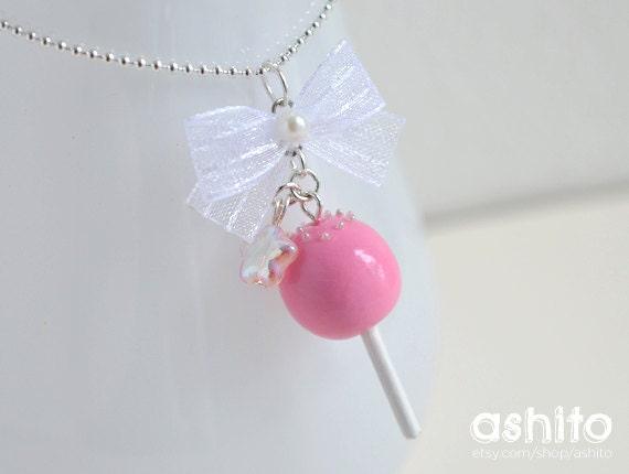 Kawaii Pink Cake Pop Silver Necklace
