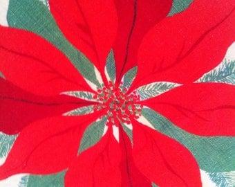 1950s Poinsettia Tablecloth