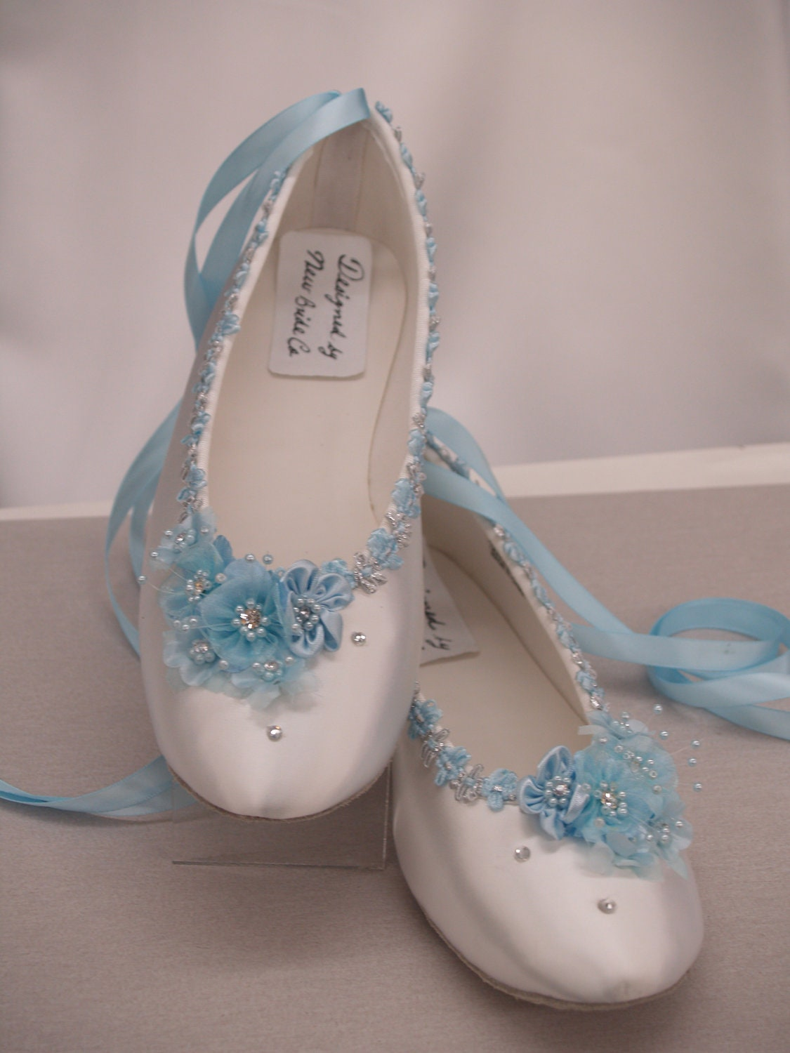 Blue Wedding Flats White Satin Shoes Blue Bridal Flat shoes